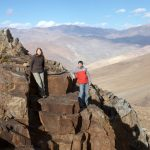 Darek and Paulina hiking in the observatory at daylight, La Silla, Chile