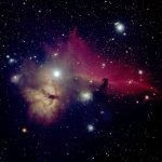 Flame and Horsehead Nebula (NGC 2024 and IC 434), false color RGB image (B, V, R), created with Vysos 6 telescope. Credit: Universitätssternwarte Bochum