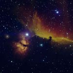 Flame and Horsehead Nebula (NGC 2024 and IC 434), false color RGB image (H-α, O-III, S-II), created with Vysos 6 telescope. Credit: Universitätssternwarte Bochum